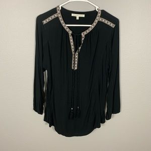 Anthropologie Long Sleeve V-Neck Top With  Tassels
